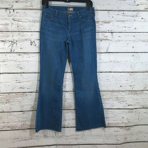 Mother Flare Raw Hem Light Denim Jeans